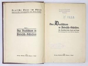 KAUDER Viktor - Das Deutschtum in Polnisch-Schlesien. Ein Handbuch über Land und Leute. Hrsg. von ... Plauen i....