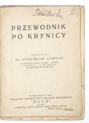 LEWICKI Stanisław - Przewodnik po Krynicy. Warszawa [ca 1928]. Pol. Towarzystwo Księgarni Kolejowych