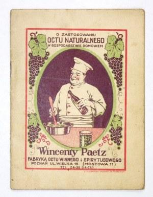 PECOWIN. Najlepszy ocet do potraw i marynatów. Poznań [193–]. Wincenty Paetz. 16d, s. 28, [3], tabl. 1....