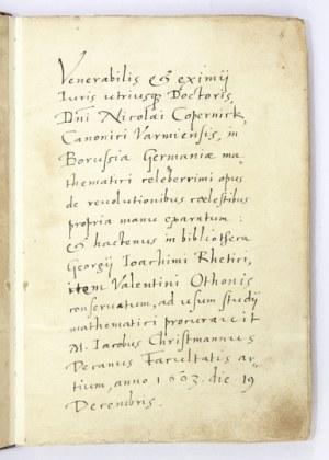 KOPERNIK Mikołaj - [Faksymile autorskiego rękopisu