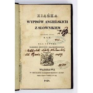 [LACH-SZYRMA Krystyn] - Xiążka wypisów angielskich z słownikiem. Ułożone przez K. L. S. [krypt]...