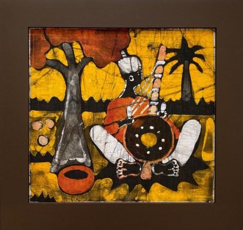 Sainey, Muzykant grający na instrumencie w cieniu drzewa kapakowego