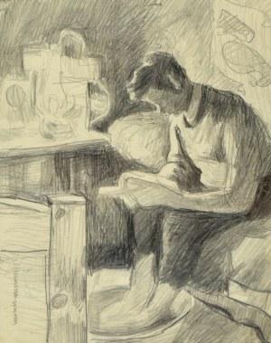 Stanisław Kamocki (1875-1944), Młody mężczyzna czytający książkę i moczący stopy w misie (scena we wnętrzu), ok. 1920