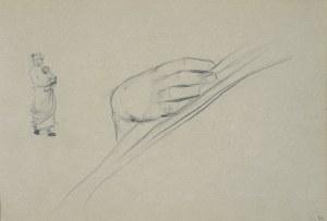 Włodzimierz Tetmajer (1861 - 1923), Szkice dłoni oraz wiejskiej kobiety z niemowlęciem na rękach, ok. 1900