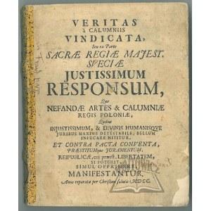 HERMELIN Olaus, Veritas a calumnis vindicata, seu ex parte sacrae regiae majest. Sveciae Justissimum responsum,