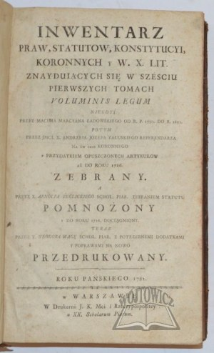 ŻEGLICKI Arnolf Kazimierz, Inwentarz Praw, Statutow, Konstytucyi Koronnych y W. X. Lit. znayduiących się w szesciu pierwszych tomach Voluminis Legum.