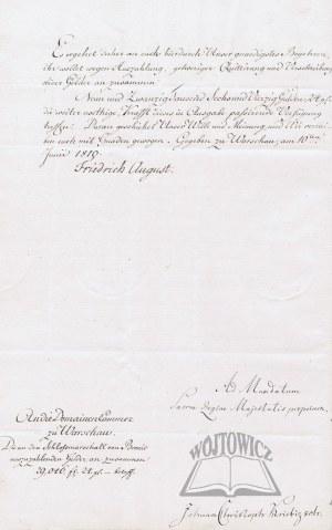 FRYDERYK August (1750 - 1827), król saski, książe warszawski.