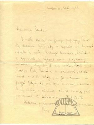 SŁAWEK Walery (premier). List z 1933 r.