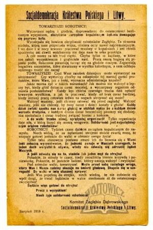 SOCJALDEMOKRACJA Królestwa Polskiego i Litwy. Towarzysze! Robotnicy!