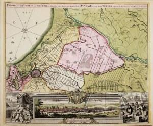 (GDAŃSK. Mapa okolic i prospekt miasta).