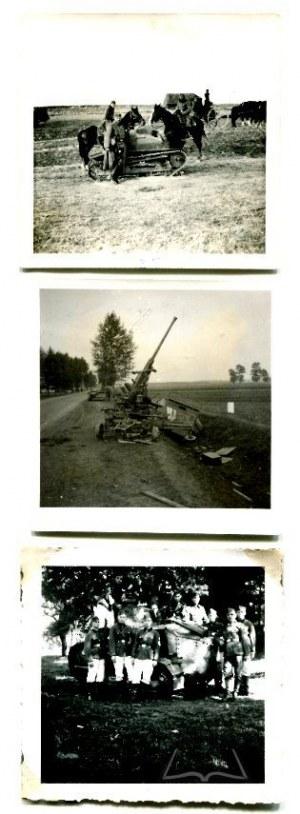 WOJNA 1939 r. Zniszczone polskie czołgi i działo.