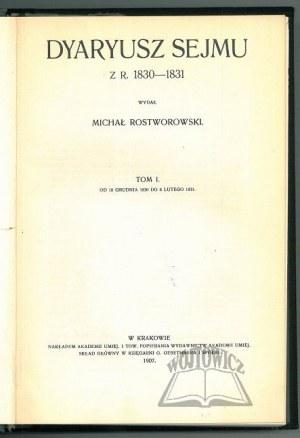 DYARYUSZ Sejmu z R. 1830-1831