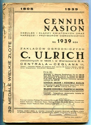 CENNIK nasion cebulek i kłączy kwiatowych oraz narzędzi i przyborów ogrodniczych na 1939 rok.