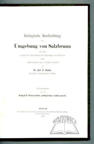 DATHE Ernst, Geologische Beschreibung der Umgebung von Salzbrunn.