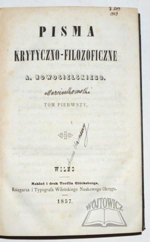 (MARCINKOWSKI Antoni Albert), Pisma krytyczno-filozoficzne