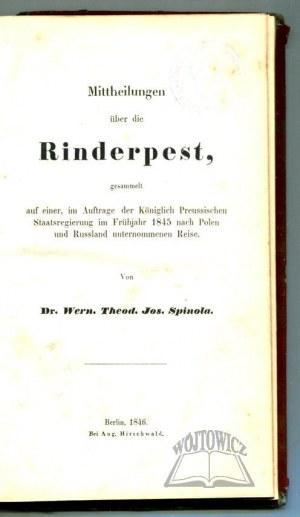SPINOLA Werner Theodor Josef, Mittheilungen über die Rinderpest.