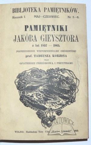 GIEYSZTOR Jakób, Pamiętniki z lat 1857 - 1865.