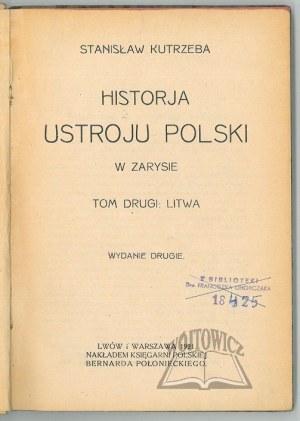 KUTRZEBA Stanisław, Historja ustroju Polski w zarysie.