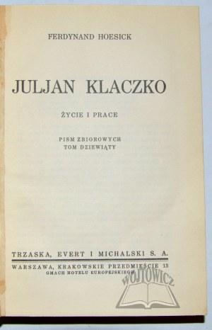 HOESICK Ferdynand, Julian Klaczko.