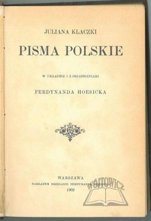 KLACZKO Julian, Pisma polskie.