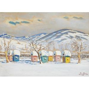 Togo Kazimierz FAŁAT (1904-1981), Pejzaż zimowy z ośnieżonymi ulami