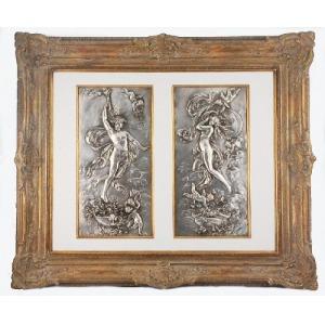 Karl STERRER (1844-1918), Para płaskorzeźb z przedstawieniem Apollona i Wenus