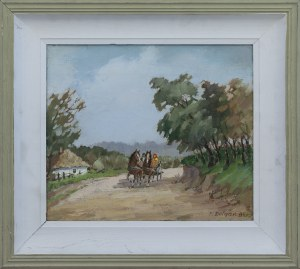 Feliks DOŁGAŃ (1914-2012), Pejzaż z furmanką, 1984