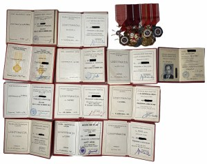 Szpanga z 11 odznaczeniami + legitymacje po wieloletnim oficerze Ludowego Wojska Polskiego