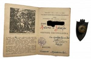 Odznaka Grunwaldu wraz z legitymacją 1946