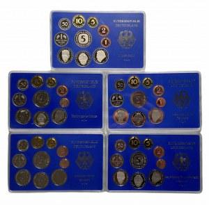 NIEMCY - zestaw monet od 1 fening do 5 marek 1991 - 5 różnych mennic A,D,F,G,J,