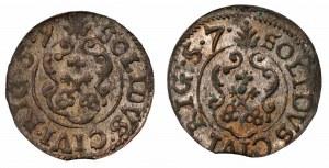 Karol X Gustaw - Ryga - zestaw 2 szelągów 1657 i 1659