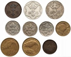 Wolne Miasto Gdańsk - Zestaw 10 monet gdańskich