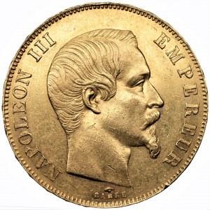 FRANCJA - Napoleon III - 50 franków 1857 Paryż (A) - złoto Au900, 16,11 gram.