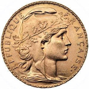 FRANCJA - 20 franków 1914 - złoto Au 900, waga 6,45 gram