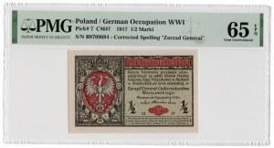 1/2 marki polskiej 1916 - Generał - seria B - PMG 65 EPQ