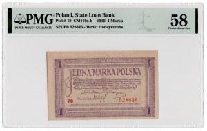 1 marka polska 1919 - seria PB - PMG 58