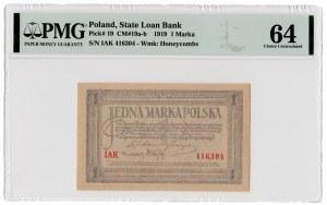 1 marka polska 1919 - seria IAK - PMG 64
