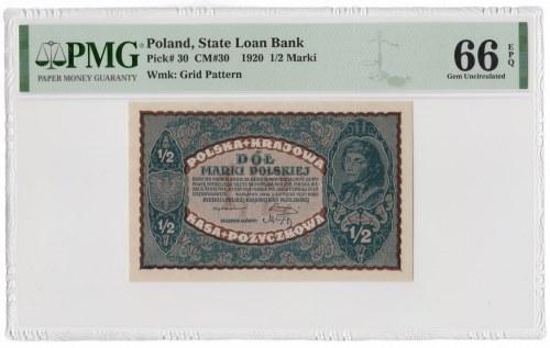 1/2 marki polskiej 1920 - PMG 66 EPQ