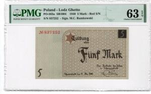 GETTO Łódź - 5 marek 1940 - numerator czerwony - papier standardowy - PMG 63 EPQ