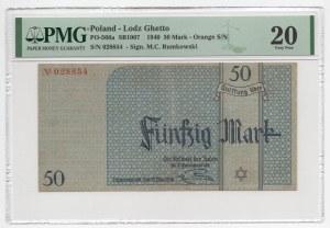 GETTO Łódź - 50 Marek 1940 - PMG 20 - RZADKI