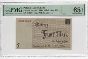 GETTO Łódź - 5 Marek 1940 - PMG 65 EPQ