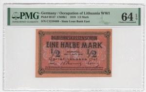 KOWNO - 1/2 marki 1918 - seria C - PMG 64 EPQ