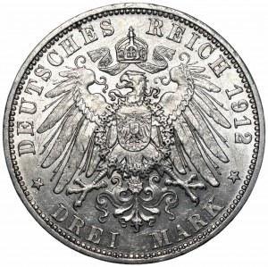 NIEMCY - Prusy - 3 marki 1912 A