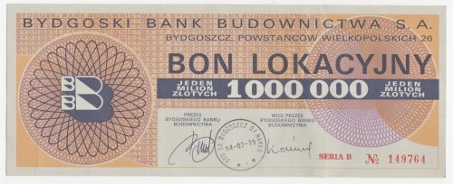 Bydgoski Bank Budownictwa S.A. - Bon Lokacyjny 1 000 000 złotych