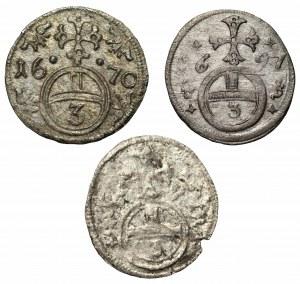 Śląsk - Leopold I - zestaw 3 monet Greszel (1670-1697)