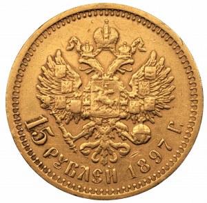 ROSJA - Mikołaj II - 15 rubli 1897 (АГ), Petersburg