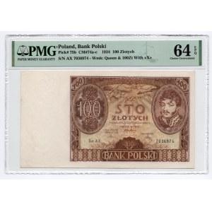 100 złotych 1934 - seria AX - PMG 64 EPQ