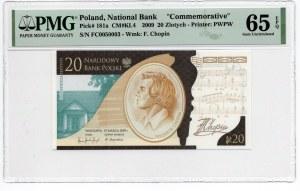 20 złotych 2009 - Fryderyk Chopin - PMG 65 EPQ- ciekawa numeracja 005003