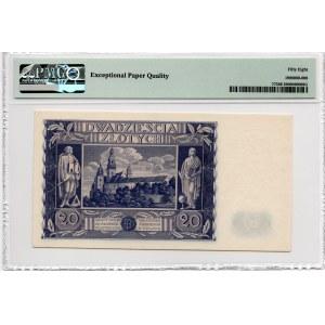 20 złotych 1940 - PMG 55 - bez serii i numeracji