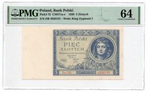 5 złotych 1930 - seria DB - PMG 64